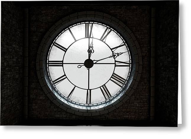 Antique Backlit Clock Greeting Card by Allan Swart
