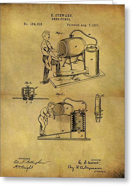 Antique Beer Pump Patent Greeting Card