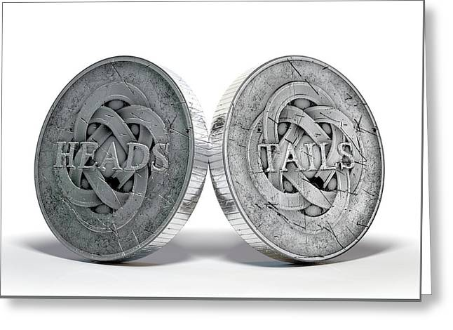 Antique Coins Heads And Tails Greeting Card by Allan Swart