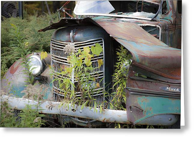 Greeting Card featuring the photograph Antique Mack Truck by Charles Harden