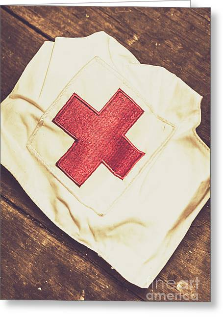 Antique Nurses Hat With Red Cross Emblem Greeting Card by Jorgo Photography - Wall Art Gallery
