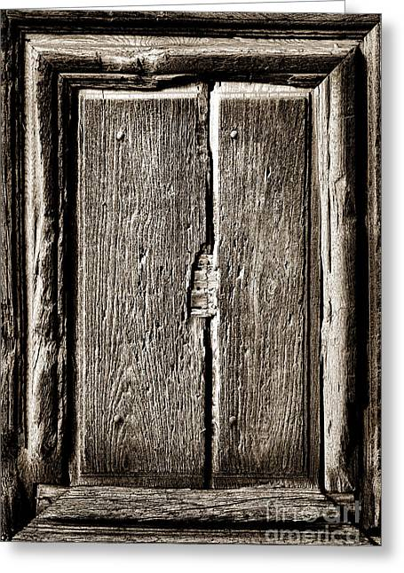 Antique Wood Door Panel Greeting Card by Olivier Le Queinec