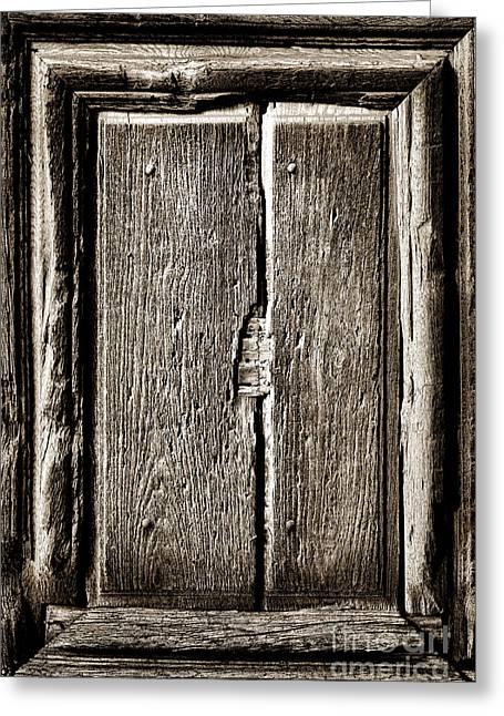 Antique Wood Door Panel Greeting Card
