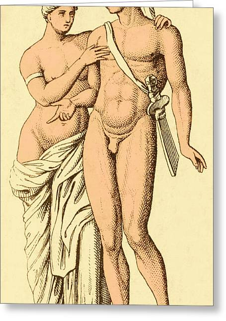 Aphrodite And Ares, Greek Olympians Greeting Card