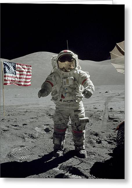 Apollo 17 Astronaut Stands Greeting Card