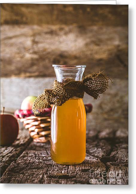 Apple Vinegar On Wood Greeting Card by Mythja Photography