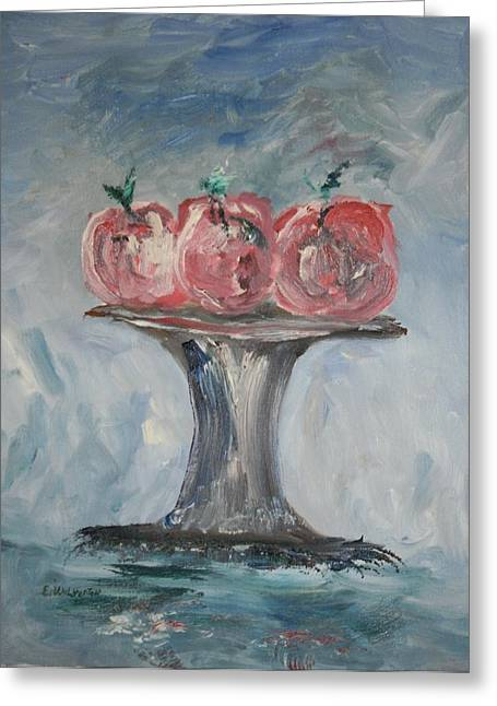 Apples Greeting Card by Edward Wolverton