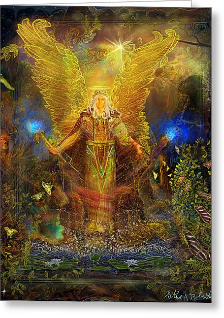 Angel Blues Greeting Cards - Archangel Michael-Angel tarot card Greeting Card by Steve Roberts