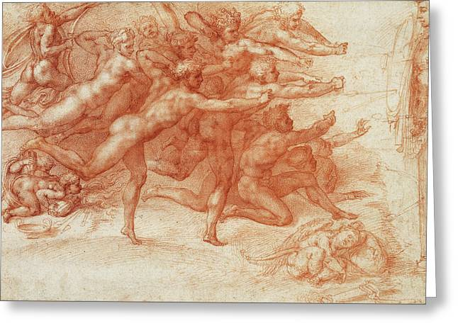 Archers Shooting At A Herm Greeting Card by Michelangelo Buonarroti