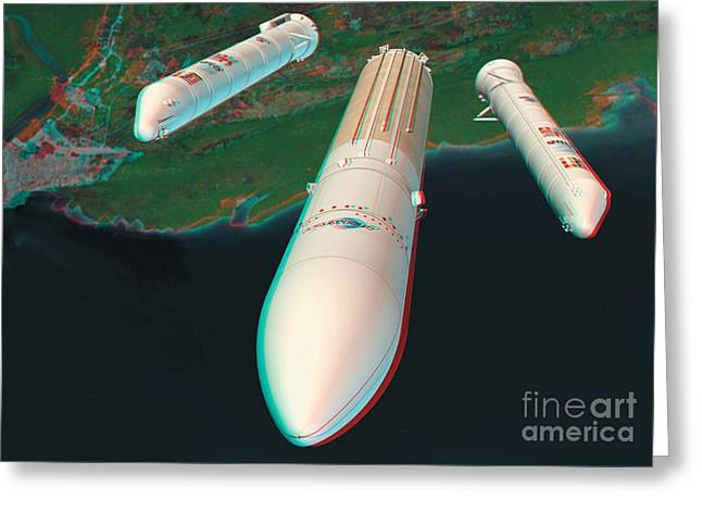 Ariane 5 Rocket Launch, Stereo Image Greeting Card by David Ducros