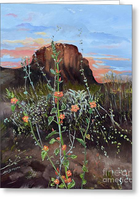 Greeting Card featuring the painting Arizona Desert Flowers-dwarf Indian Mallow by Jan Dappen