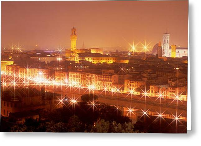 Arno River Florence Italy Greeting Card by Panoramic Images