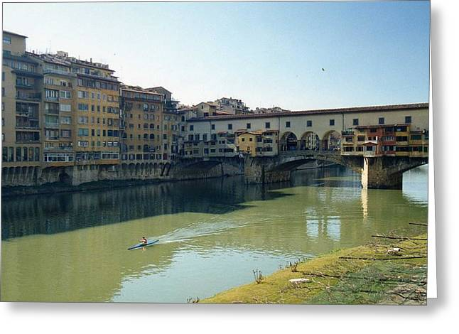 Arno River In Florence Italy Greeting Card by Marna Edwards Flavell