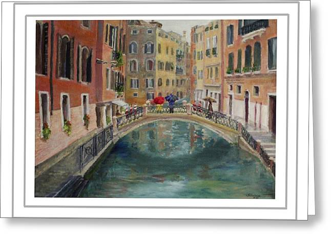Art Card - Umbrellas In Venice Greeting Card by Harriett Masterson