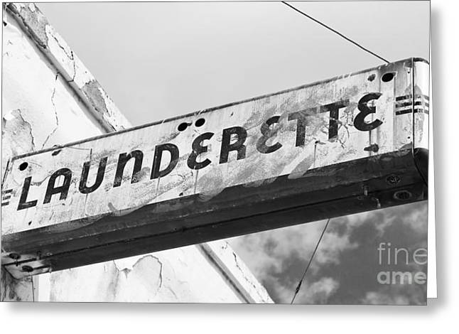 Art Deco Launderette Sign Greeting Card