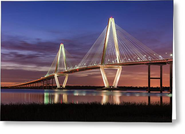 Arthur Ravenel, Jr. Bridge At Sunset Greeting Card