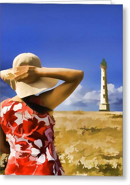Aruba Lighthouse Greeting Card by Dennis Cox WorldViews