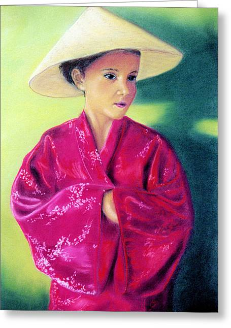 Greeting Card featuring the pastel Asia As Asian by Jan Amiss