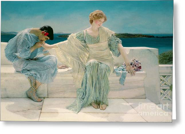Dating Paintings Greeting Cards - Ask me no more Greeting Card by Sir Lawrence Alma-Tadema
