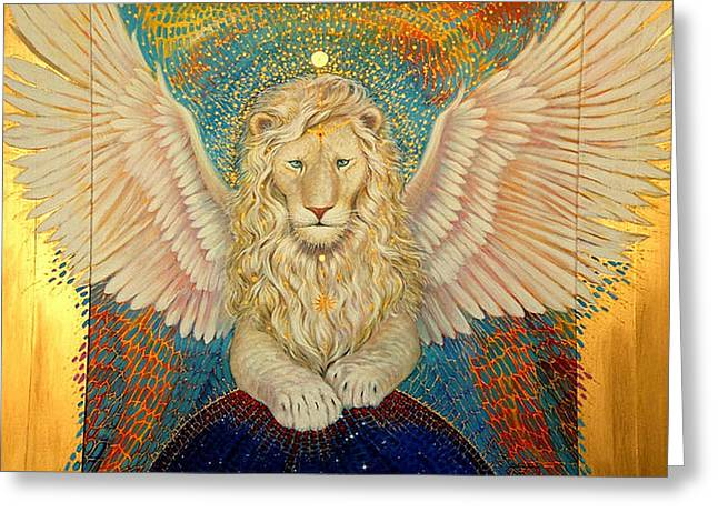 The Universe Paintings Greeting Cards - Aslan  Greeting Card by Silvia  Duran