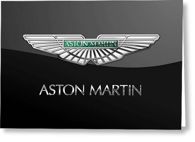 Aston Martin 3 D Badge On Black  Greeting Card by Serge Averbukh