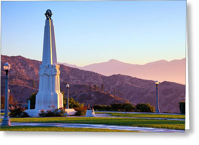 Astronomers Monument In Griffith Park Greeting Card by Celso Diniz