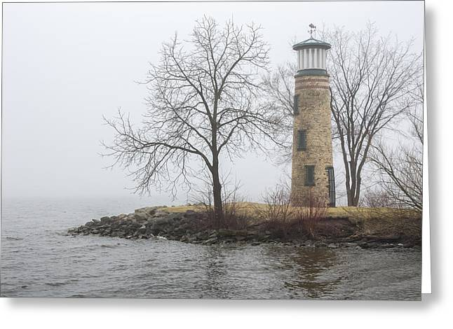 Asylum Point Lighthouse In Spring Greeting Card by Dawn Braun