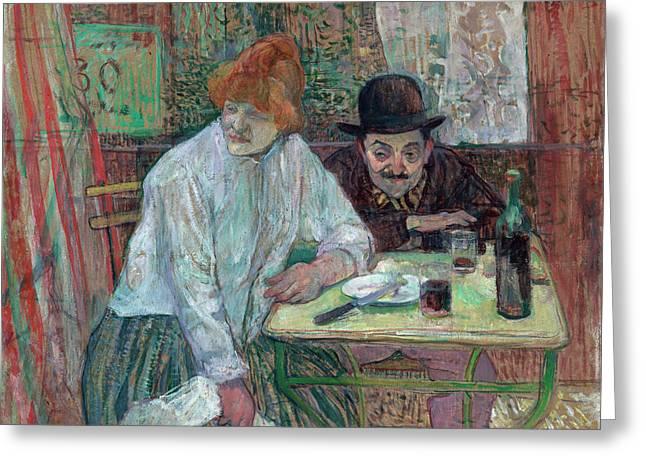 At The Cafe La Mie Greeting Card by Henri de Toulouse-Lautrec