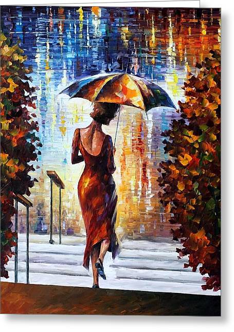 At The Steps Greeting Card by Leonid Afremov