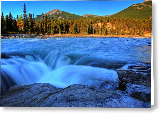 Athabasca Falls In Jasper National Park Greeting Card by Mark Duffy