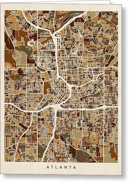Atlanta Georgia City Map Greeting Card