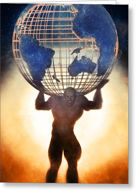 Atlas And The Luminous Universe Greeting Card by Quim Abella