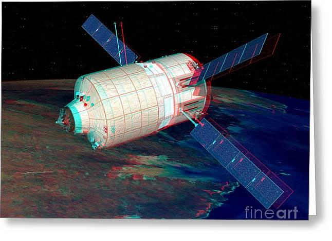 Atv In Orbit, Stereo Image Greeting Card by David Ducros
