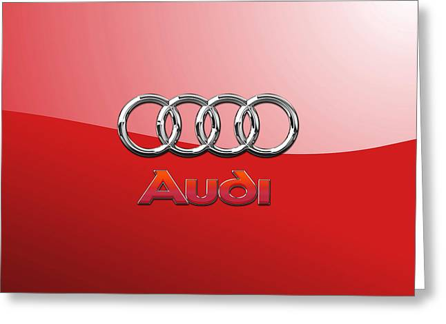 Audi - 3d Badge On Red Greeting Card by Serge Averbukh
