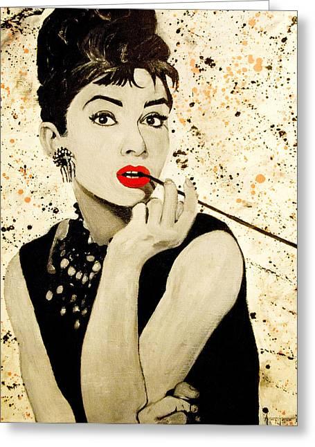 Audrey Hepburn Greeting Card by Anthony Jensen