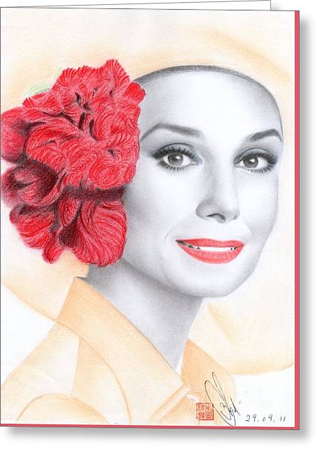 Greeting Card featuring the drawing Audrey Hepburn by Eliza Lo