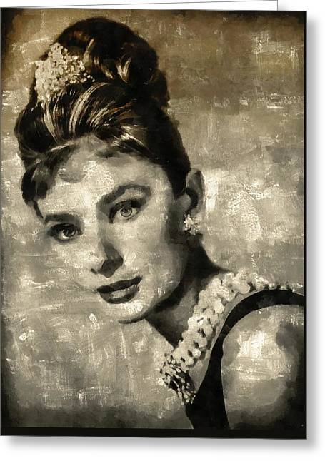Audrey Hepburn Greeting Card by Mary Bassett