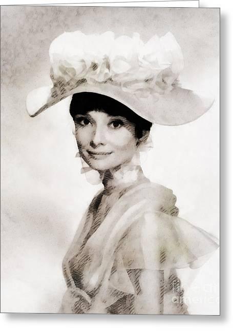 Audrey Hepburn, Vintage Hollywood Legend Greeting Card