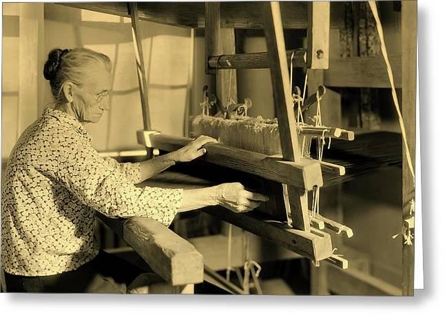 Aunt Lizzie Reagan Weaving - Gatlinburg Tennessee 1933 Greeting Card by U S N A