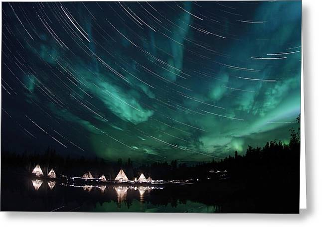 Trailing Greeting Cards - Aurora And Star Trails Greeting Card by Yuichi Takasaka