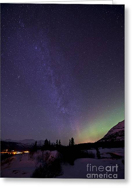 Aurora Borealis And Milky Way Greeting Card by Jonathan Tucker