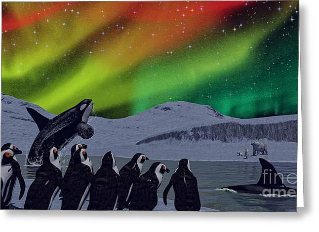 Greeting Card featuring the digital art Aurora Borealis by Methune Hively