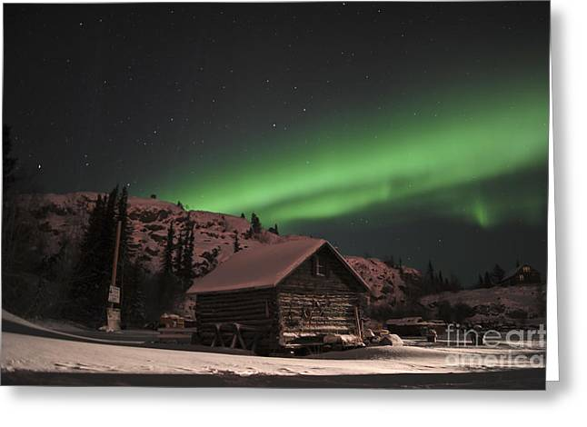 Aurora Borealis Over A Cabin, Northwest Greeting Card