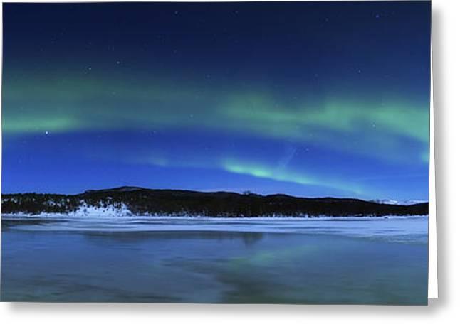 Aurora Borealis, Tennevik Lake, Troms Greeting Card by Arild Heitmann