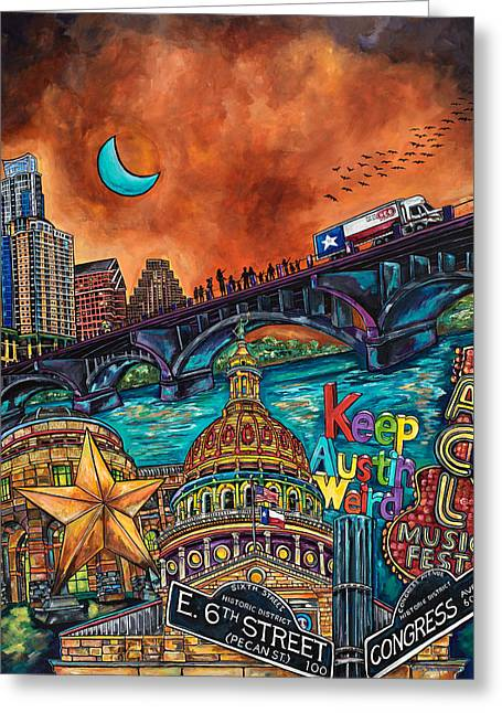 Austin Montage Greeting Card by Patti Schermerhorn