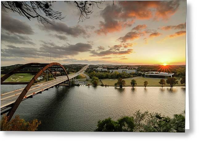 Austin Pennybacker 360 Bridge Sunset Greeting Card by Preston Broadfoot