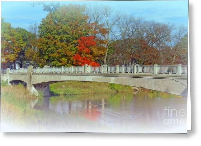 Autumn Bridge Greeting Card by Kay Novy