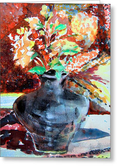 Autumn Flowers Greeting Card by Mindy Newman