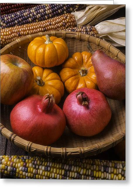 Autumn Harvest Basket  Greeting Card by Garry Gay