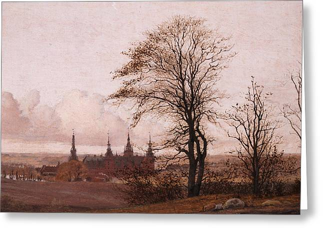 Autumn Landscape. Frederiksborg Castle In The Middle Distance Greeting Card by Christen Kobke